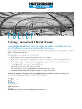 Bullying, Harassment & Discrimination Policy