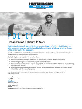 Rehabilitation & Return to Work Policy