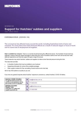 Support for Subbies & Suppliers